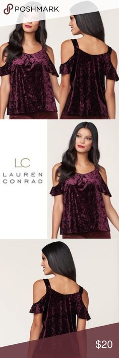Lauren Conrad Burgundy Velvet Cold Shoulder Top Brand new with tags! (003-0079)   PRODUCT DETAILS: •Size: Large •Colors: Burgundy, maroon, red, purple •Made in Vietnam •Measurements: Chest-20inch Length-26inch •From Runway Collection •95% polyester, 5% spandex •Machine wash •Cold Shoulder •Crushed Velvet Material  Tags: Ruffle fall winter furry soft metallic shiny reflective work professional business career blouse shirt LC Lauren Conrad Tops Blouses