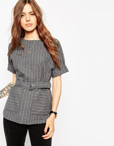 This pinstripe top is the ultimate work wear piece, I'm digging those scandi vibes.