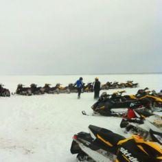 Snowmobiling on Lake Gogebic
