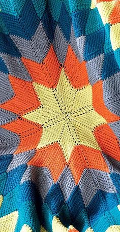 "Starburst Entrelac Afghan By Megan Granholm - Purchased Crochet Pattern From Book ""Unexpected Afghans"" At Amazon - http://www.amazon.com/Unexpected-Afghans-ebook/dp/B00DH40PSS/ref=dp_kinw_strp_1 - (ravelry)"