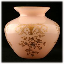 Cambridge Crown Tuscan Portia Vase Etched with Gold Inlay Elegant Glass Pink from Catisfaction's Glass Gallery on Ruby Lane
