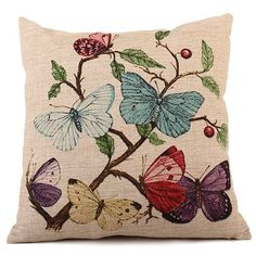 Cutelife 3005  Cotton Linen Decorative Throw Pillow Cover  Butterfly * Details can be found by clicking on the image.