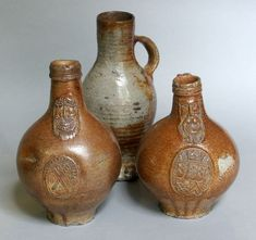 Bellarmine Pottery. These strange jugs with bearded faces on them would have been used to transport wine from countries like Germany © The Company of Merchant Adventurers of the City of York