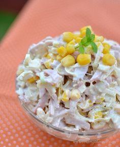 Sałatka z porem, szynką i kukurydzą