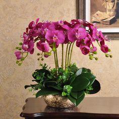 XXXG flor simulación simulación macetas decoración flor de la orquídea de flores de mesa de centro de flores sala de estar interior(China (Mainland))