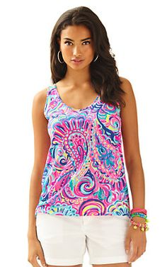 """d3edc398e5a4e6 Kinsey Tank Top- """"Psychedelic Sunshine""""- Medium Lilly Pulitzer Prints, Lily  Pulitzer"""