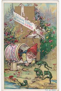 AU ROYAUME DES GNOMES - 6 CHROMOS DE LIEBIG - SAN590BEL PUBL EN 1899 - dwarf sleeping next to frogs