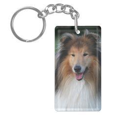 Rough Collie dog beautiful photo portrait, gift Single-Sided Rectangular Acrylic Keychain