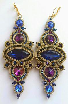 biżuteria soutache, haft koralikowy, torby z filcu: Kolczyki