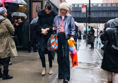 #StreetStyle   #NYC Thessaly LaForce and Phoebe Arnold with a Miu Miu bag