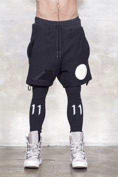 17BBS11 BLACK FELTED/PT PANT SHORTS by 11 by Boris Bidjan Saberi