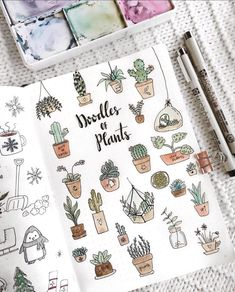 More doodle inspiration! Create cute plant doodles in your bullet journal or planner. Fun, easy to make doodles anyone can draw! Self Care Bullet Journal, Bullet Journal Writing, Bullet Journal Spread, Bullet Journal Ideas Pages, Bullet Journal Inspiration, Journal Pages, Doodling Journal, Poetry Journal, Bullet Journals