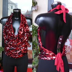 Sexy top rosso paillettes reversibili schiena nuda  Taglie s/m/l  https://www.lorcastyle.it