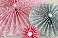 DIY paper rosettes for Valentine's Day with links to download the cute paper.