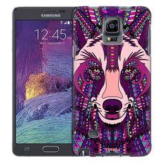 Samsung Galaxy Note 4 Aztec Wolf Head Purple Trans Case