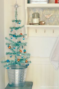 Blue Tinsel Powder Room Christmas Tree. From At The Picket Fence. #EasyHolidayIdeas