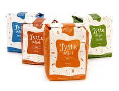 """Jytte flour is a new line of gluten free flour. Being a small business the marketing budget was limited so we had to create a design with real stopping effect. This colourful range of flour bags was awarded Silver in the European Design Awards."""
