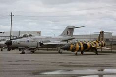 """RCAF CF-101B """"Voodoo"""" & CF-104 """"Starfighter"""" (in tiger livery)."""