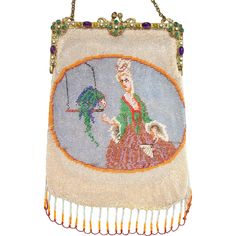 "Figural Beaded Purse, "" Lady with Parrot"", jeweled frame"