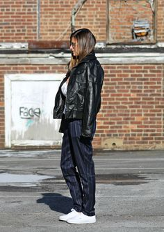 Modern Business || #Missguided navy pinstripe trouser, #Forever21 black faux leather jacket, #Topshop white quilted sweater, #Vans white classic low top sneakers, winter street style, winter fashion, winter outfit inspiration, casual winter outfit, fashion blogger #tobebright