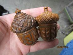 Two 19th C Antique Hand Carved Coquilla Nut Figural Acorn Boxes 1 | eBay