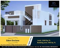 Eden Enclave 2 & 3 BHK Villas Are you looking for a time and a place to be happy_ They both are with. It is time f House Front Wall Design, Single Floor House Design, House Outside Design, Simple House Design, Bungalow House Design, House Wall, 2bhk House Plan, Residential Building Design, Indian House Plans