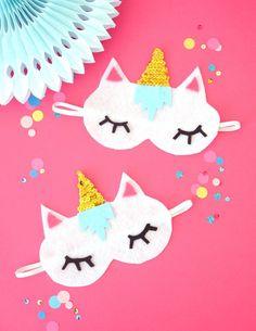 Unicorn sleep masks from a Unicorn Slumber Party on Kara's Party Ideas | KarasPartyIdeas.com (11)