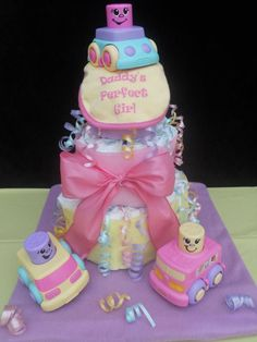 Daddy's Perfect Girl 3 Tier Diaper Cake! Made for a Daddy to be Mechanic! Made by Momma T's Creative Delights!