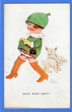 OLD VINTAGE POSTCARD ARTIST SIGNED MABEL LUCIE ATTWELL GIRL DOGS WHAT EVER NEXT | eBay