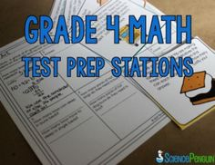4th Grade Math Test Prep Stations- 9 activities for games, task cards, centers, and small group instruction $
