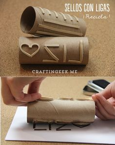 Easy and cheap DIY stamp: Cut rubber bands into pieces, arrange for design with hot glue on toilet paper rolls. Cool way to make custom roller stamps! Toilet Paper Roll Crafts, Paper Crafts, Diy Crafts, Toilet Paper Tubes, Art For Kids, Crafts For Kids, Arts And Crafts, Stencil, Stamp Carving