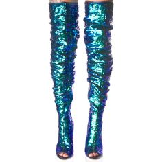 Sequin Thigh High Boot ($52) ❤ liked on Polyvore featuring shoes, boots, dolls, slouchy boots, thigh boots, pull on boots, stiletto boots and side zip boots