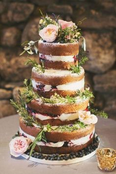 Why not decorate your naked cake with fresh herbs for a rustic wedding? Spring wedding cakes you won't be able to resist • Wedding Ideas magazine