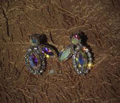 Vintage Earrings SIGNED WEISS Aurora Borealis Glass Rhinestone Clipon  #Weiss…
