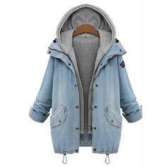 M-Queen Femme Manteaux à Capuche Gilet Jean Blouson Hiver Hoodie Veste Jacket Denim Jean-Coat Casual Outwear 2 Pièce: Amazon.fr: Vêtements et accessoires
