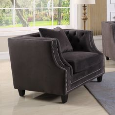 The Best Master Furniture Hampstead Tufted Velour Accent Chair makes a smart spot for reading and socializing. Its tufted-button back is paired with. Modular Sectional Sofa, Grey Chair, Traditional Looks, Tub Chair, My Dream Home, Seat Cushions, Decorative Pillows, Accent Chairs, Armchair
