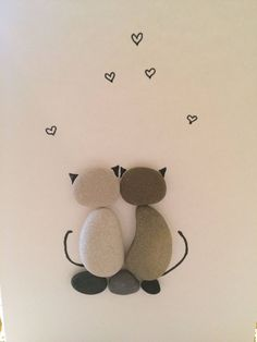 Greeting card with Cats, Cat lover Gift idea, Two Cats, Couple Cats, Love cats, Love Gift, Pebble art, Stone Art, Rock Art, Handmade card by SeacraftArt on Etsy https://www.etsy.com/listing/572094448/greeting-card-with-cats-cat-lover-gift