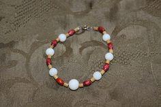 White Glass Bead Bracelet - Wooden Bracelet