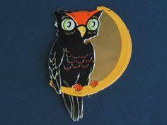 Vintage Halloween Die Cut Owl Sitting on by TreasuredHalloween