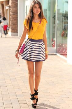 Like the color/pattern combo... but that skirt is tooooo short