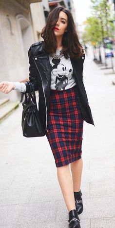 #fall #fashion / plaid skirt + leather