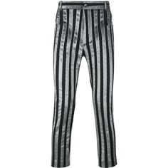 Haider Ackermann striped trousers ($1,415) ❤ liked on Polyvore featuring men's fashion, men's clothing, men's pants, men's casual pants, grey, mens striped pants, mens gray pants and mens grey dress pants