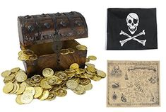 WellPackBox Large 8x6x6 Wooden Treasure Chest Box Toy Gold Coins Pirate Flag For Boys Kids Girls Children (Large) #WellPackBox #Large #Wooden #Treasure #Chest #Gold #Coins #Pirate #Flag #Boys #Kids #Girls #Children #(Large)