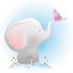 Cute baby elephant playing with butterfly Premium Vector Cute Baby Elephant, Elephant Art, Elephant Nursery, Nursery Art, Doodle Drawings, Cute Drawings, Elephant Illustration, Butterfly Illustration, Baby Animal Drawings