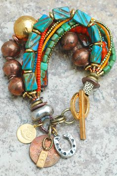 Bracelet | Charm | Copper | Blue | Orange | Luck | Glass | XO Gallery - interesting the squares and the seed beeds
