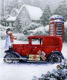 great DIY paint on canvas or wood project. Christmas Red Truck, Christmas Scenes, Christmas Pictures, Christmas Art, Beautiful Christmas, Winter Christmas, Christmas Decorations, Christmas Projects, Xmas