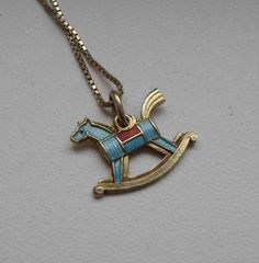 Rarer Norwegian 50's Bernard Meldahl Silver 925s Enamel Riding Horse Necklace  #BernardMeldahl