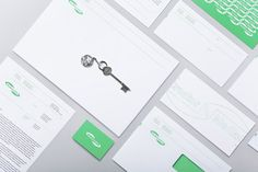 Logo and stationery with fluorescent green ink detail designed by Lundgren+Lindqvist for Swedish print production and project management company MediaCreator
