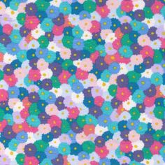 Sale HALF YARD -  Pastel Watercolor Flowers - Pink, Blue, Teal Green and White - LAWN - Cosmo Textile Japanese Import Fabric by fabricsupply on Etsy
