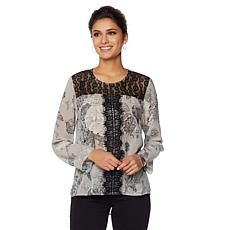 LaBellum by Hillary Scott Peasant Top with Lace Trim